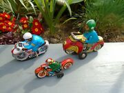 Vintage Tin Plate Motorcycles Group Of 3 Very Nice Colours And Display Nice