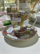 Russian Imperial Lomonosov Porcelain Tea Cup And Saucer Floral Background Gold