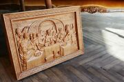 The Last Supper Wood Carved Christian Icon Religious Wall Hanging Art Work