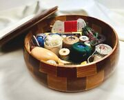Vintage 10andrdquo Sewing Basket Redwood Bowl W Lid W Mending Accessories 1940s-50s