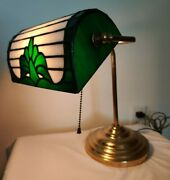 Vintage Bankers Desk Lamp Stained Glass Brass Pull Chain 15 Library Handmade