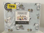 Berkshire Peanuts Snoopy Woodstock Spring Easter Egg Hunt Twin Sheets Blue New