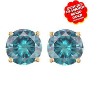 3/4 Ct Round Cut Natural Diamond 14k Yellow Gold Stud Earrings Si1 - Si2