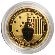 2014 Australia 1/10 Gold Coin ✪ Battle Of The Coral Sea ✪ 9999 15 ◢trusted◣