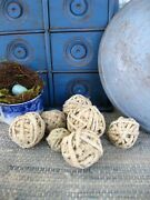 7 Small Rag Balls Made From Antique Cotton Rug Strips