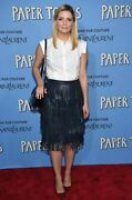 Zac Posen Willow Leather Fringe A Line Skirt Navy Blue Size 12 New Msrp 1999.95