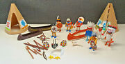 Bundle Old Playmobil Indian 1974/1993 Geobra 8 Characters+ Accessory+ Tipi