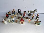Lot Of Small Vintage Christmas Lemax Accessories, Figures, Village Brinns