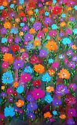 Large Colorful Original Abstract Painting Acrylic Meadow Dreams30x48x1.5