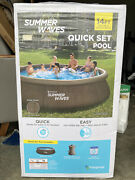 Summer Waves 14and039 X 36 Wicker Print Quick Set Pool W/filter Pump ➡ships Same Day