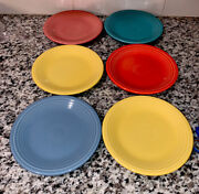 """Lot Of 6 Fiesta Salad Plate 7.25"""" Persimmon Turquoise Sunflower Pink Periwinkle"""