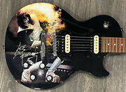 Ace Frehley Autographed Guitar Kiss Signed Guitar W Limited Edition Flaming Art