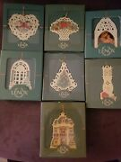 7 Vtg 90s Lenox Christmas Ornaments Madonna And Child/victorian Lace/homecoming