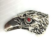 Pewter With Silver Overlay Large American Eagle Ring Size 8-13 Made For Hot Topi