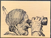 Gumbo Graphics Native American Indian With Binoculars Rubber Stamp