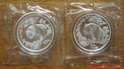 1997 Panda 1oz Silver Coin Small Date And Large Date 2 Coins
