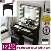 Vanity Set With 12 Lighted Mirror Makeup Dressing Table Dresser Table Balck Us ✅