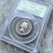 1955 Canada 25 Cent Silver Coin One Dollar Proof Like Pcgs Gem Pl 67 Old Holder