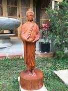 Standing Buddha Statue With Alms Bowl Hand Carved By Artisans In Vietnam 3.4 Ft