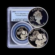2001 Canada 50 Cent Silver - Pcgs Pr69 Dcam - Top Pop 🥇 Quebec