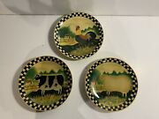Three Vintage American Folk Art Painted Plates Of Farm Animals Cow Sheep Rooster