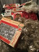 Large Lot Vintage Christmas Tree Tinsel Garland And Icicles Decoration