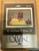 Dmx Autograph Keeping It Real 2012 Leaf Pop Icons Card - Limited 10/10 Rare