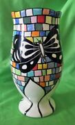 Hand Painted Signed Judy Henderson Vase Mosaic Tiles Look And Butterfly 9 Tall
