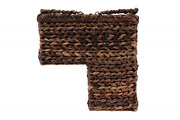 Creative Co-op Bacbac Leaf Woven Stair Basket With Handles, Multi-brown