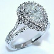2.80ct White Pear Cut Dual Halo Diamond Engagement Ring In Real 14k White Gold