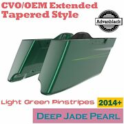 Deep Jade Pearl Cvo Tapered Extended Saddlebags Pinstripes For Harley 2014+