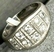 18k White Gold Diamond Textured Fluted Band Ring Size 8.75 Mens Or Womens