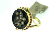 Vintage Victorian Black Onyx And Pearl Floral Design Ring Yellow Gold Size 3