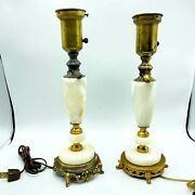 Vintage Electrical Marble Brass Table Lamps Scalloped Goldtone Set Of 2 14 Tall