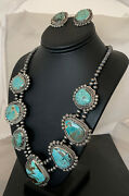 Na Necklace Navajo Squash Pendant Sterling Silver Royston Turquoise Earrings 818