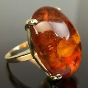 14k Oval-cut Cabochan Amber Yellow Gold Ring Size 7.25 8.8 Ctw