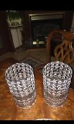 """Crystal Metal Lamp Shades Set Or Candle Holders 10.5"""" Tall"""