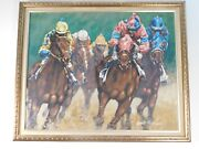 Painting On Canvas Signed Janet Hannigan Down The Stretch Framed Horse Racing