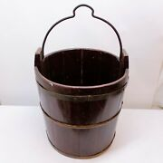 Vintage Primitive Wooden Water Bucket Traditional Asian Style Authentic Antique