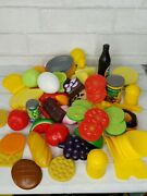 Vintage 81 Pcs Pretend Play Toy Fake Food Plastic Meat Fruit Vegetable Cans