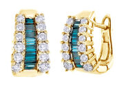 1.5 Ct Baguette Blue Natural And Natural Diamond Hoop Earrings In 14k Yellow Gold