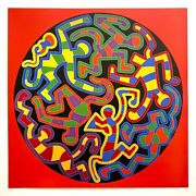 Keith Haring Estate Rare 1999 Lithograph Print Pop Art Poster Monkey Puzzle 1988