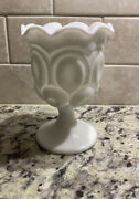 Le Smith White Milk Glass Moon And Stars Footed Wine Goblet Ruffled Edge 5 3/4andrdquo