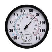 30x10 Inch Indoor Outdoor No Battery Weather Thermometer Hygrometer Wall