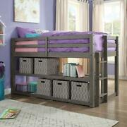 Kids Solid Gray Wood Loft Twin Bunk Bed Frame With Under Bed Storage Shelves New
