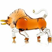 Charging Bull Cow Decanter Glass Crystal Whiskey Scotch Vodka Bottle Vintage