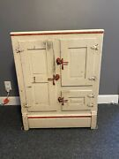 Vintage Antique Wood Ice Box Early 1900s All Original Hardware And Wire Shelves