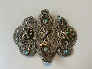 Antique Russian Silver Belt Clip With Turquoise 1896-1907