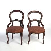 Pair Balloon Back Chairs Antique Victorian Upholstered