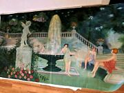 Antique Vtg Art Deco Painting On Fabric Nudes Women Girls In Garden 48 By 26